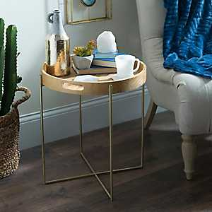Natural Wood and Gold Accent Table