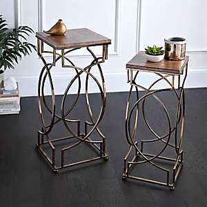 Geometric Gold Accent Tables, Set of 2