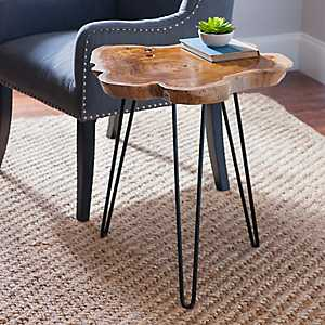 Teak Root and Iron Accent Table