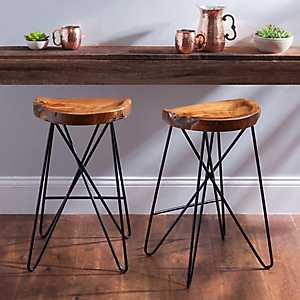 Criss Cross Teakwood Bar Stool