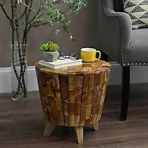 Old Mod Drum Wood Stool