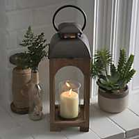 Emma Natural Wood Arch Lantern, 19 in.