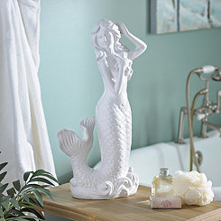 White Mermaid and Starfish Statue