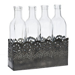 Scroll Cutout Bottles Vase Runner Set