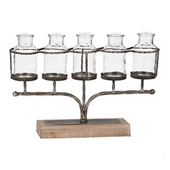 Glass Jar Finial Vase Runner Set