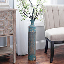 Distressed Blue Metal and Burlap Vase