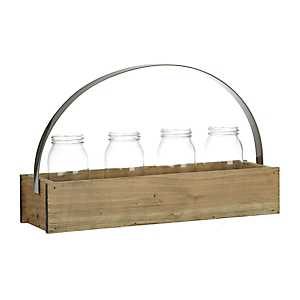 Glass Jar Crate Vase Runner Set