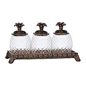 Bronze Pineapple Decorative Jars and Tray