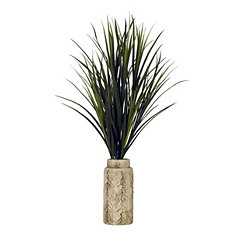 Mango Grass Arrangement in Embossed Cream Planter
