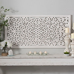 White Daisy Carved Wood Wall Panel