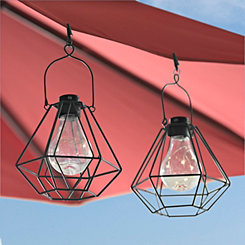Black Umbrella Clip Light Lanterns, Set of 2