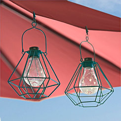 Turquoise Umbrella Clip Light Lanterns, Set of 2