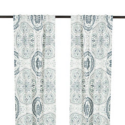 Leilani Blue Paisley Curtain Panel Set, 84 in.