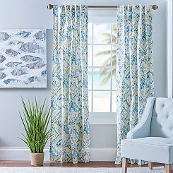 Blue and Yellow Ashlyn Curtain Panel Set, 84 in.