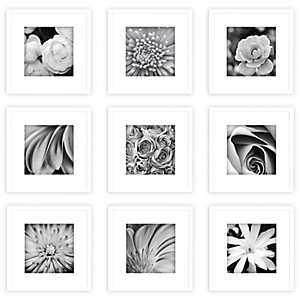 Plain White Collage Frames, Set of 9