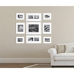 Plain White Mixed Collage Frames, Set of 9
