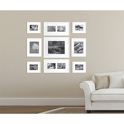 Plain White Mixed Collage Frames, Set of 9