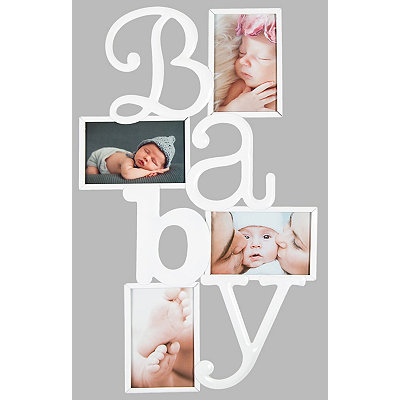 White and Silver Baby Collage Frame
