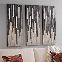 Mirrored Ebony and Ivory Wall Plaques, Set of 3
