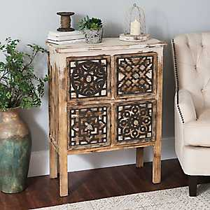 Patchwork Wood 4-Drawer Cabinet