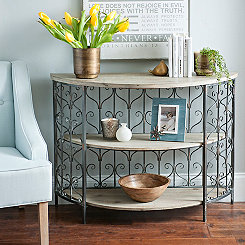Scrolled Nadia Wood Demilune Console Table