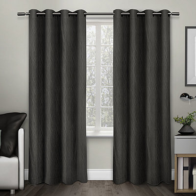 Charcoal Crete Curtain Panel Set, 84 in.