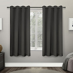 Dark Gray Sateen Curtain Panel Set, 63 in.