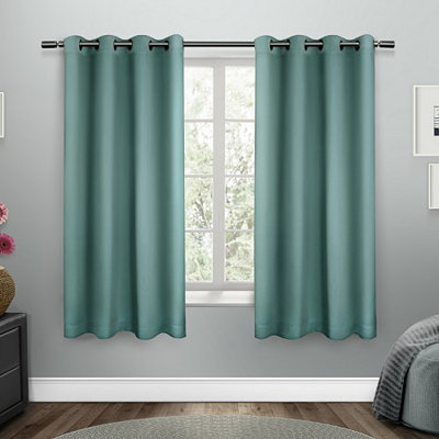 Teal Sateen Curtain Panel Set, 63 in.
