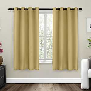 Yellow Sateen Curtain Panel Set, 63 in.