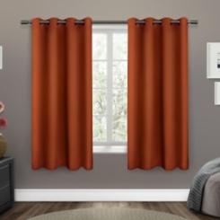 Orange Sateen Curtain Panel Set, 63 in.