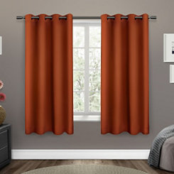 Orange Sateen Curtain Panel Set, 63 in.