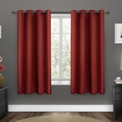 Red Sateen Curtain Panel Set, 63 in.