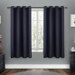 Navy Sateen Curtain Panel Set, 63 in.