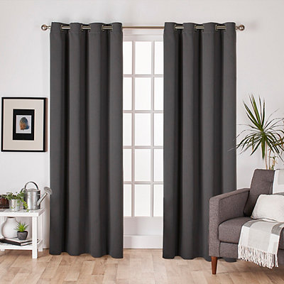 Charcoal Sateen Curtain Panel Set, 84 in.