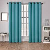 Teal Sateen Curtain Panel Set, 84 in.
