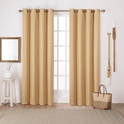 Yellow Sateen Curtain Panel Set, 84 in.