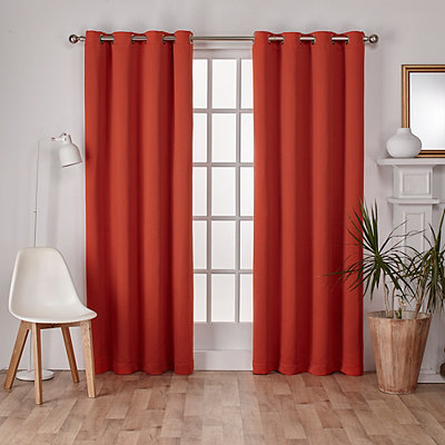 Orange Sateen Curtain Panel Set, 84 in.