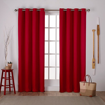 Red Sateen Curtain Panel Set, 84 in.