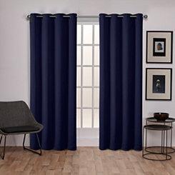 Navy Sateen Curtain Panel Set, 84 in.