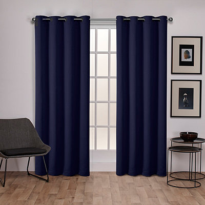 Navy Sateen Curtain Panel Set, 84 in.