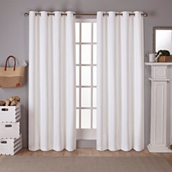 Vanilla Sateen Curtain Panel Set, 96 in.