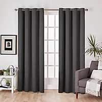 Charcoal Sateen Curtain Panel Set, 96 in.