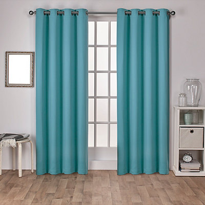 Teal Sateen Curtain Panel Set, 96 in.