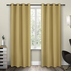 Yellow Sateen Curtain Panel Set, 96 in.