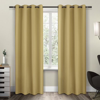 Yellow Sateen Curtain Panel Set, 96 in.