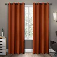 Orange Sateen Curtain Panel Set, 96 in.