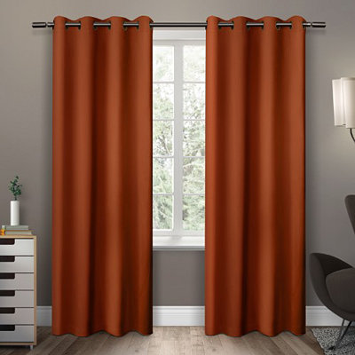 Orange Sateen Curtain Panel Set, 96 in.