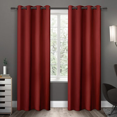 Red Sateen Curtain Panel Set, 96 in.