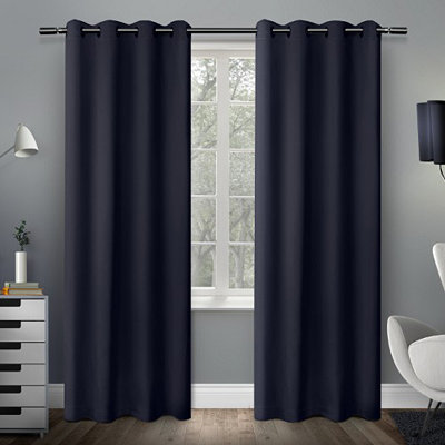 Navy Sateen Curtain Panel Set, 96 in.