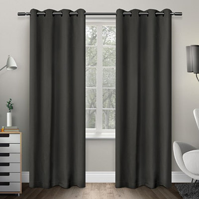 Charcoal Sateen Curtain Panel Set, 108 in.